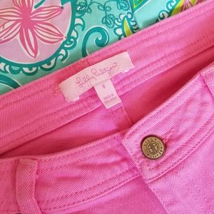 Lilly Pultizer Pink Denim Crop Jeans